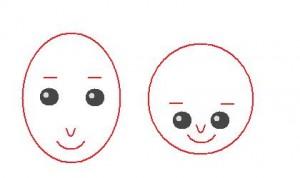 面長と丸顔イラスト